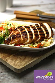 Asian BBQ Chicken Slaw Salad. #HealthyRecipes #DietRecipes #WeightLossRecipes weightloss.com.au