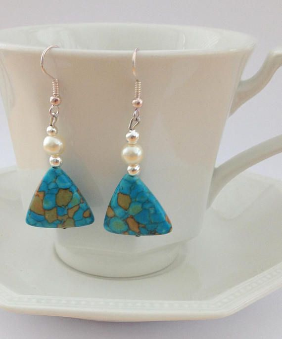 Turquoise Earrings with Cream Pearls Dangle and Drop