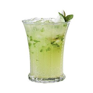 Pear-Basil Sipper cocktail ~ basil, pear nectar, pear vodka, sugar, lemon-lime soda/spritz