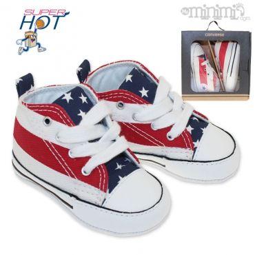 Photo Converse First Star - chaussons pour bébé - Drapeau americain #streetwear #mode #enfant #converse