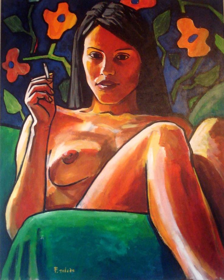 Pintura contemporánea de Fernando Toledo, artista cubano  Pintura figurativa en tela  Talía- Musa de la comedia  100x80cm  2012