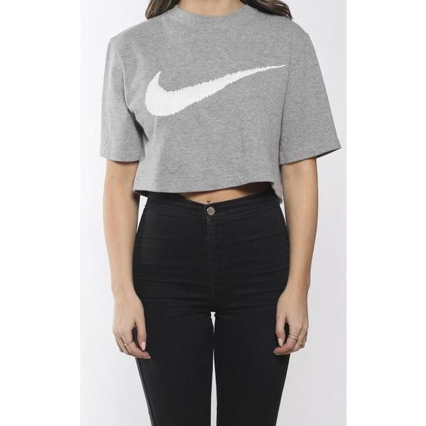 Vintage Nike Crop Tee (88 BRL) ❤ liked on Polyvore featuring tops, t-shirts, vintage t shirts, nike top, crop t shirt, nike and nike t shirt