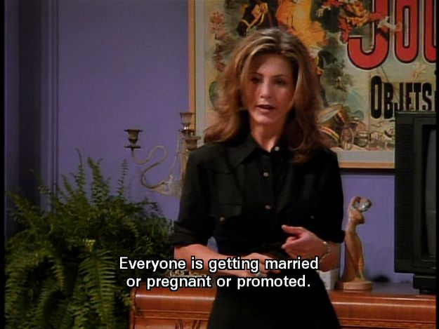 "That horrible feeling you get when everyone seems to have their shit together but you: | 23 Times Rachel From ""Friends"" Perfectly Summarized What It's Like To Be In Your Twenties"