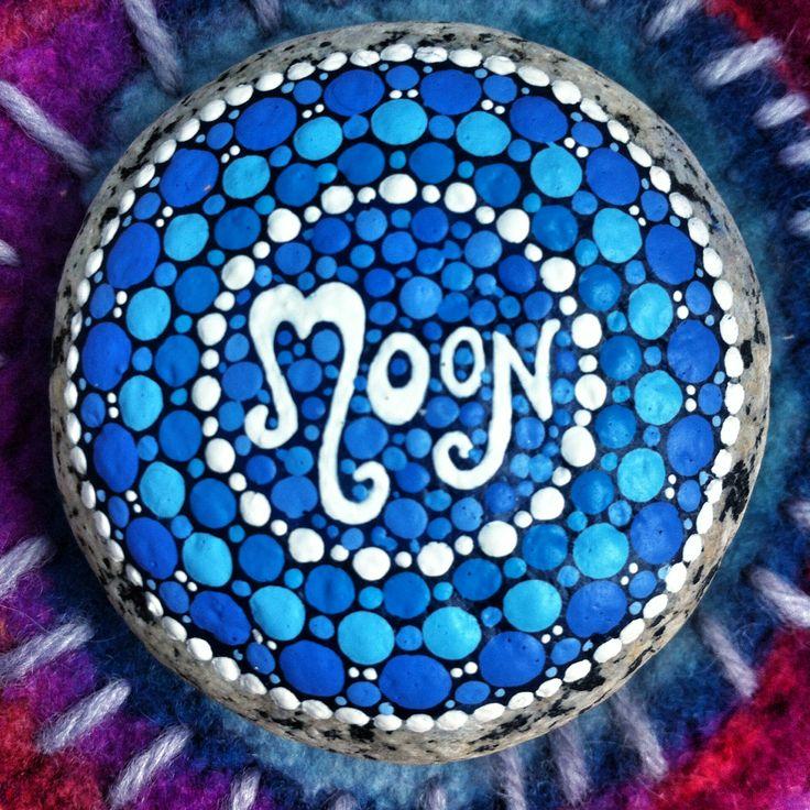 Moon mandala stone by Elspeth McLean