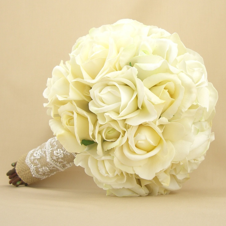 Rustic Bridal Bouquet Burlap Lace Roses Real Touch Silk Wedding Flowers White Cream Ivory 215 00