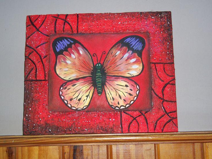Mariposa acrilico sobre tela artista mirta mancuso listo for Zapateros tela para colgar