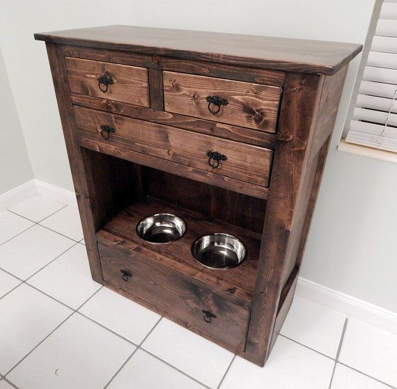 Shaw Dog Feeding Station and Storage by YoureUnique on Etsy