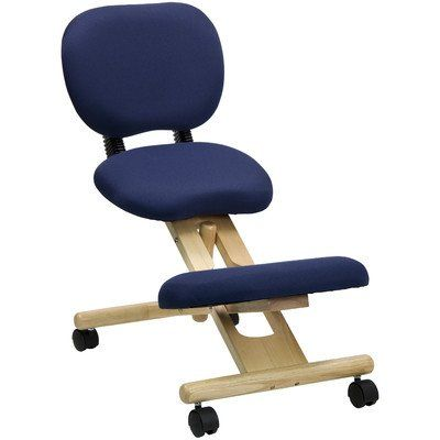 Pin it :-) Follow us :-)) AzOfficechairs.com is your Officechair Gallery ;) CLICK IMAGE TWICE for Pricing and Info :) SEE A LARGER SELECTION of  reclining office chair at http://azofficechairs.com/category/office-chair-categories/reclining-office-chair/ - office, office chair, home office chair - Mobile Wooden Ergonomic Kneeling Posture Chair in Navy Blue Fabric with Reclining Back « AZofficechairs.com