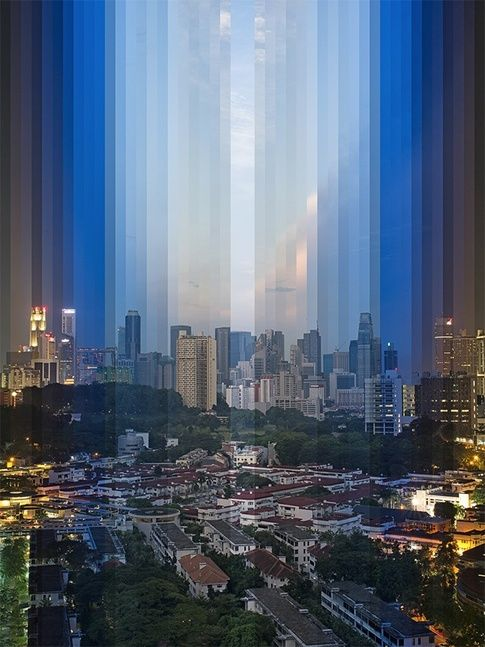 """Fong Qi Wei,""""Time Is a Dimension"""" City photos layered to show the passing of time"""