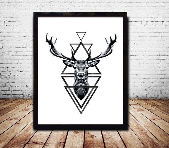 Stag Head Deer Head Wall Art Print Deer Print Deer by CosmicPrint