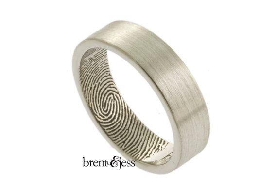 6mm Sterling Silver Custom Fingerprint Wedding/Commitment Band with Single Fingertip Whorl Print on the Inside