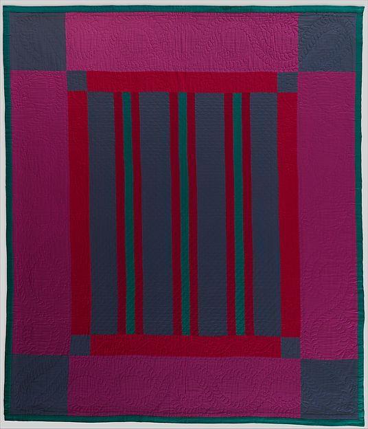 Quilt, Split Bars pattern. Maker: Amish maker. date: ca. 1930
