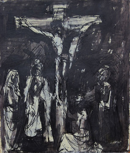 DAVID FAIRBAIRN  'Study from Tournier, The Crucifixion, the Virgin, Mary Magdelene, St. John and St. Vincent De Paul'   2012  acrylic, gouache, pen & ink  33.5 x 28 cm