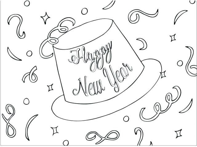 Party Hat And Confetti Coloring Page New Year Coloring Pages