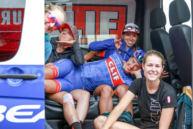 Clif Pro Team members Catharine Pendrel, Haley Batten, Lea Davison, Hannah Rae Finchamp, and Maghalie Rochette pause for some sillyness in the Clif van.