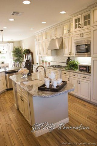 kitchen white cabinet with island and hardwood floor - love this kitchen