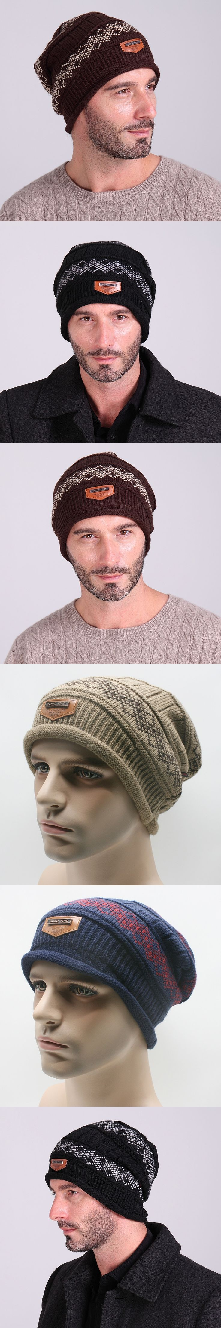 wholesale Stickers knitted plus velvet cap outdoor men and women sports warm hat