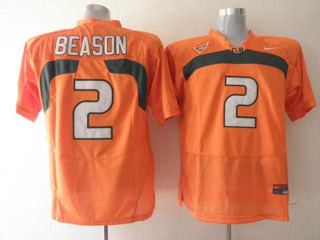 Men's NCAA Miami Hurricanes #2 Jon Beason Orange Jersey