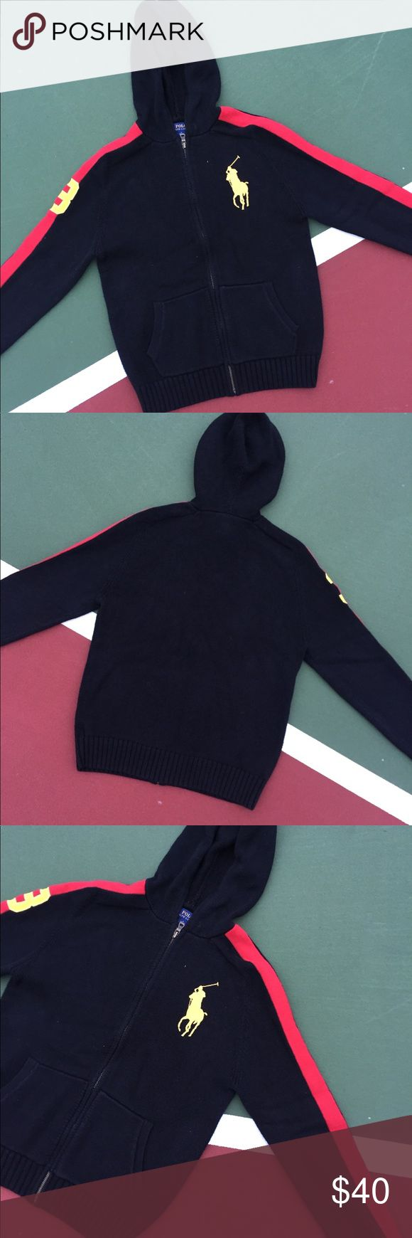 Polo Jacket Polo Jacket In Black.  Brand: Polo Size: Men's 2X-Small/ Women's X-Small Condition: 10/10  Comments: Thread Count Is Crazy On The Golden Horseman Which Is Complimented By The Black Background & Red Stripes On Either Shoulder! Polo by Ralph Lauren Jackets & Coats