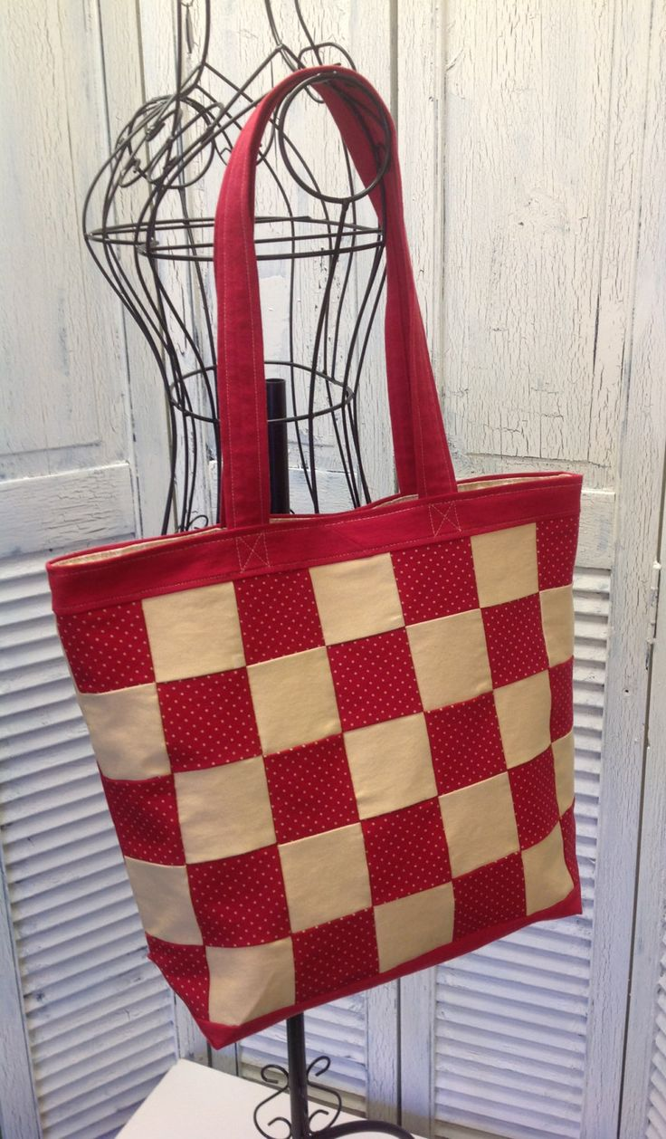 Bleu Redux (colors too!) Upcycle Checkered Denim Tote (DB18) by GrandmaRietas on…