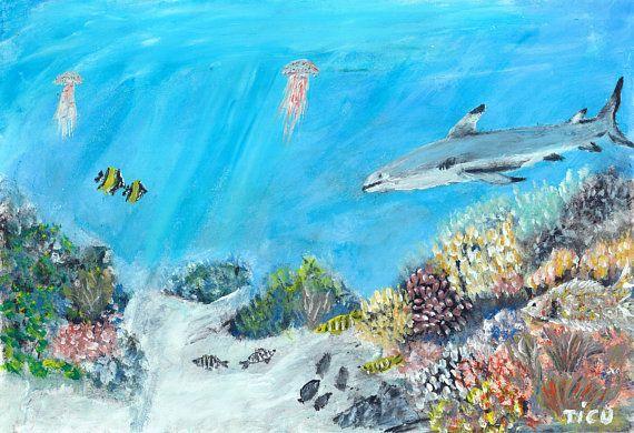 Sea Under Deep Fish Nursery Baby Invitation Party Shark Animal