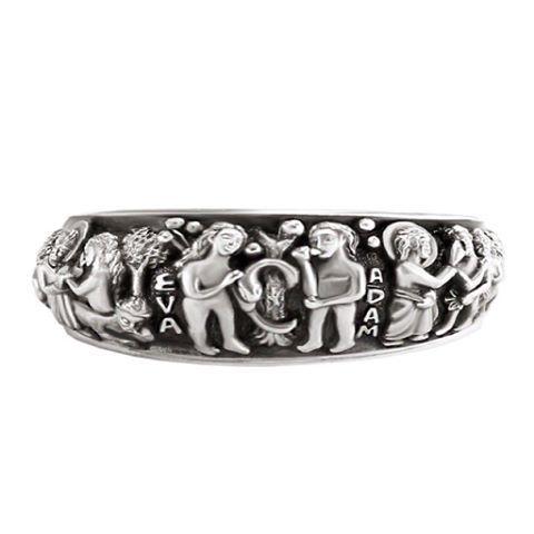 """Кольцо """"АДАМ И ЕВА"""", Серебро 925 пробы  Серебряное с чернением кольцо выполнено с исключительным художественным и ювелирным мастерством. На нем рельефно изображена история Адама и Евы.  🌱 Артикул: 848  Вес: 9,40 гр.   Размер: 17, 18, 19, 20, 21  Высота: 8 мм.  Ширина: 25 мм.  Материалы: Серебро 925 пробы  ✅ Цена: 5 140₽ в наличии  🔎 Навигация: #sofija_podarki_кольца"""