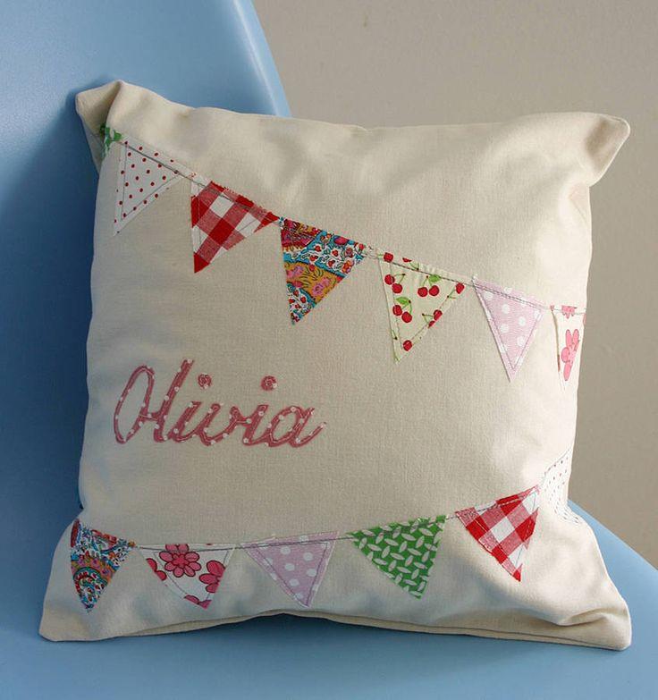 personalised girl's bunting cushion by lula handmade   notonthehighstreet.com