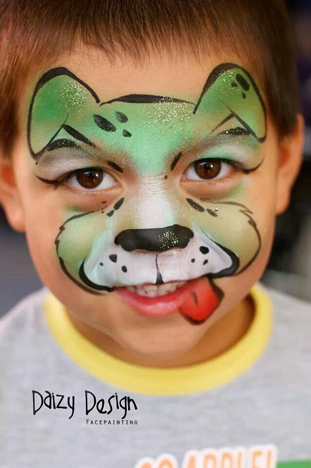 Face paint inspiration puppy...this is more of a mask than a full face paint....except we'd want to stay off the lips!