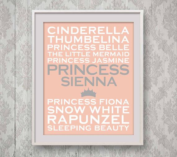 Famous Princess Print, Personalized Girls Room Art, 8x10, Customized Baby Girls Gift, Pink and Grey, Gift for New Mum Mom, Disney Princesses on Etsy, $33.90 AUD
