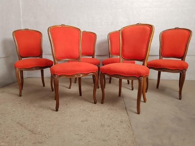 Set Of 6 Louis Xv Style Dining Chairs Reupholstered In Red Alcantara Early 20th C In 2020 Dining Chairs Oak Dining Chairs Chair