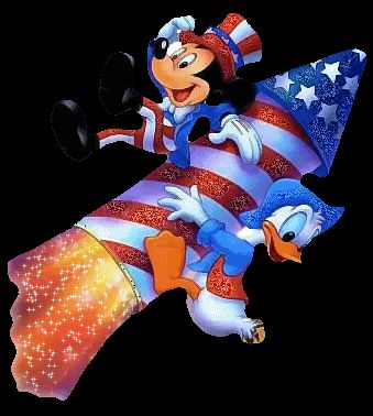 Vintage Happy July 4th Mickey Mouse Rocket Duck Disney Animated Gif  Animation