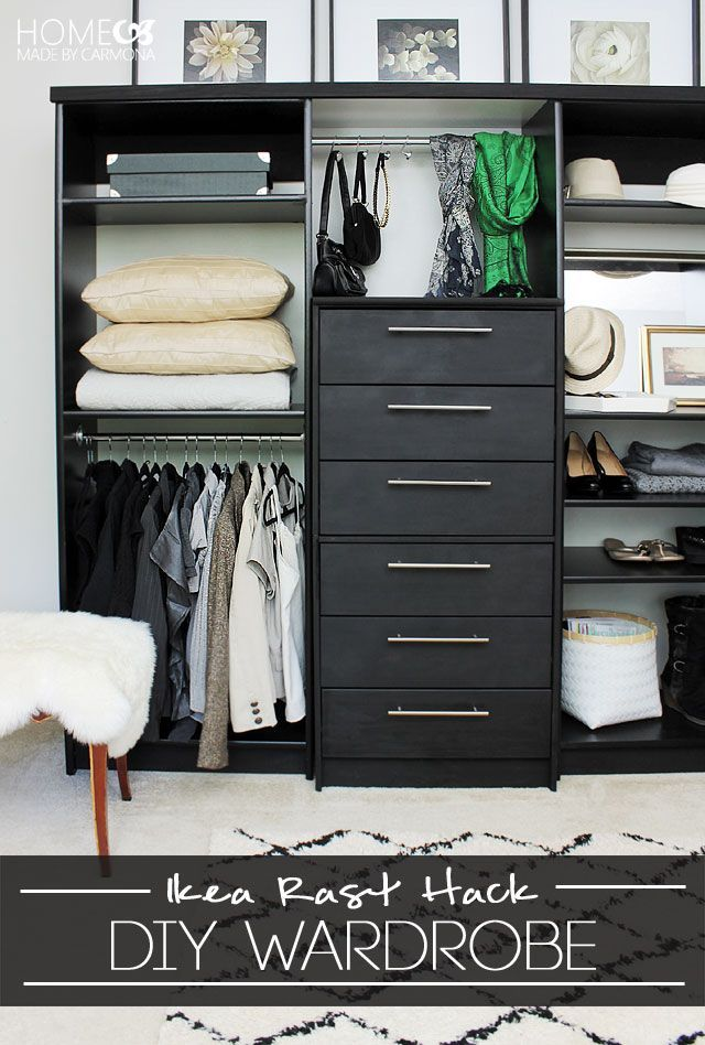 Ikea Painted Furniture Hack: Turn your Rast dresser into an entire wardrobe while using Pittsburgh Paints & Stains Trim, Door & Furniture paint in Deepest Black.
