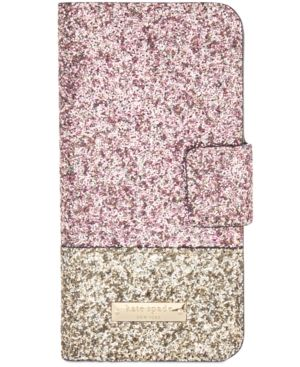 kate spade new york Skyline Glitter iPhone 7 Folio Case - Pink