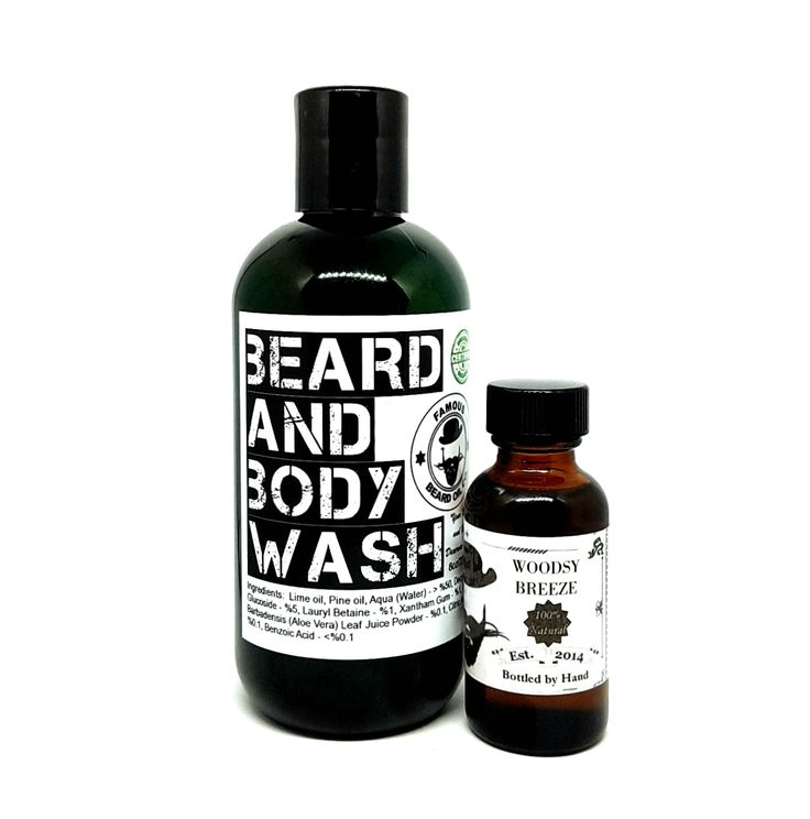 Mountaineers Beard Wash & Beard Oil Set! Our beard wash is formulated with the finest ingredients of 100% organic base with the wonderful pure essential oils of Lime and Pine Needle.  Give your beard and body the full treatment.  very uplifting and lively.