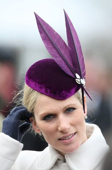 Zara Phillips on 12 March at the Cheltenham Festival wearing a Jane Taylor hat, the royal hats blog