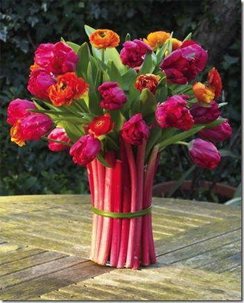 Rhubarb Vase - I think I have to do this while the tulips are in season!Rhubarb Vases, Flower Pl, Colors, Flower Arrangements, Gardens, Flower Vases, Pretty Things To Make, Entertainment Ideas, Strawberries Pies