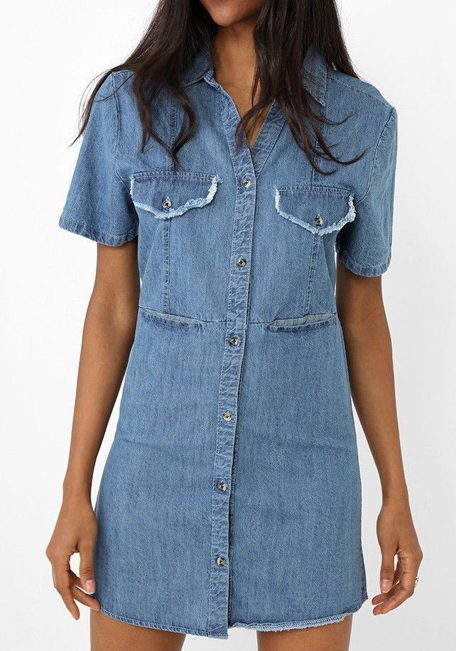 Womens Vintage Casual Button Down Long Sleeve Denim Jean Shirt Dress Size UK6-14