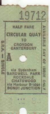 Old Style Sydney train tickets