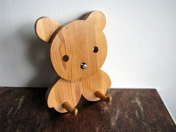 Swedish Vintage Clothes coat rack kids Wall Rack natural wood Coat Hook Coat Hanger Towel Hook in Bear shape Midcentury Modernist