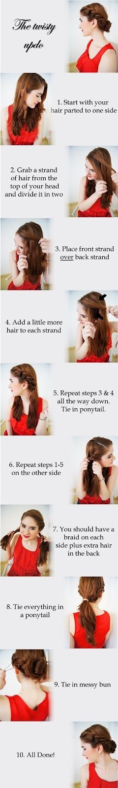 An adorable updo with how-to instructions. Tuck flowers into it when attending a special event, wear it on a hot day, or speed up the morning routine by not straightening or curling your hair!