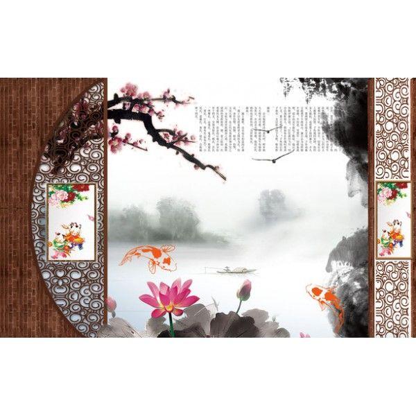 papier peint 3d asiatique sur meaure paysage zen les lotus et les poissons papier peint. Black Bedroom Furniture Sets. Home Design Ideas