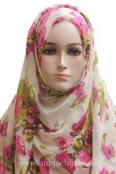 Light Hijab Fading Floral-Beige Pink