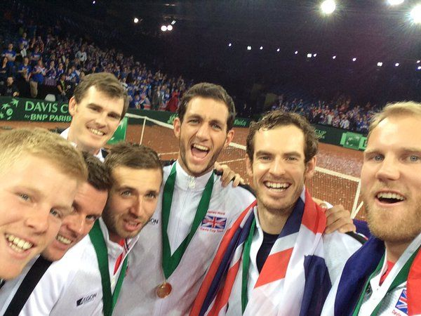 Team GB's selfie after winning Davis Cup, 2015 .... best pic so far and definitely one for the album !!!