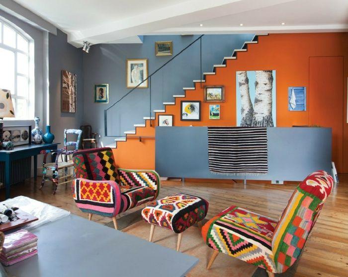 краска идеи ГОСТИНАЯ стены синего цвета мебель лоскутные