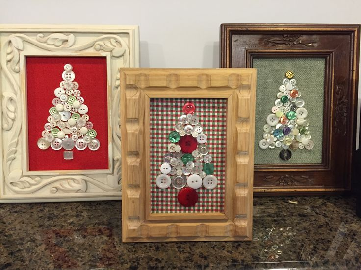 Repurposed vintage button Christmas trees framed.