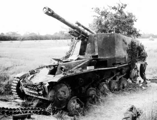 A destroyed German Sd.Kfz. 124 Wespe. The Wespe self-propelled artillery was a Panzer II tank with the turret removed and a 105mm artillary piece installed. It was in service on all major fronts during the war. Six hundred and seventy-six were built...