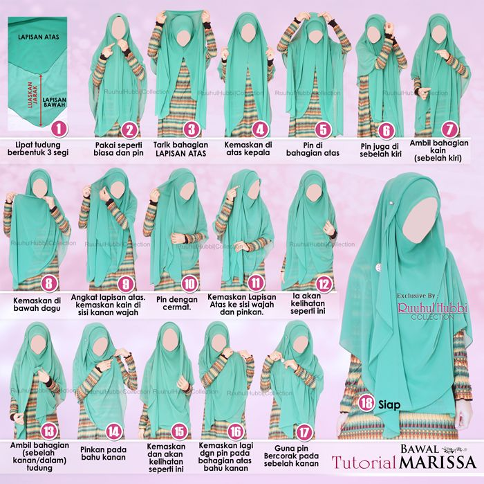 Step by step Tutorial Bawal Marissa. Nice long and wide shawl from Ruuhul Hubbi Collection (facebook)