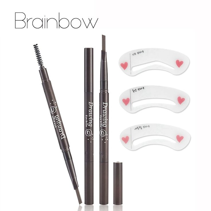 Brainbow Waterproof longlasting 5 Color Eyebrow Pen Pencil With Brush Eyebrow Eyeliner+3 Eyebrow Shape Stencils Kit Makeup Tools