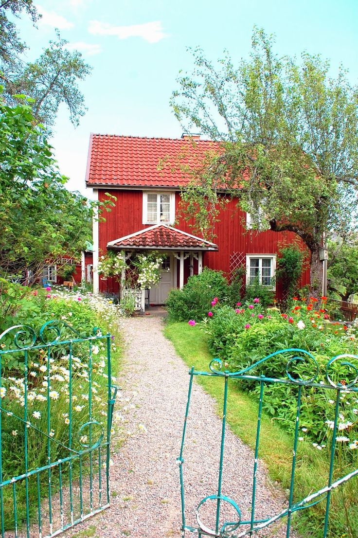 Traditional Swedish red country cottage house