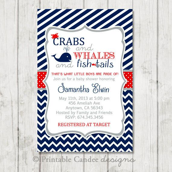 crabs and whales nautical baby shower invitation